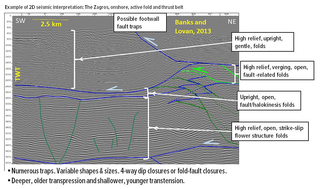 Interpreted seismic line onshore fold and thrust belt